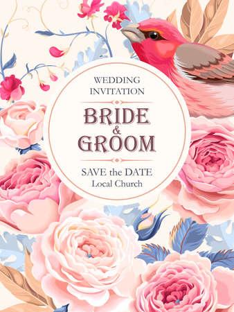 Vector de invitación de la boda de la vendimia con las rosas y los pájaros Ilustración de vector