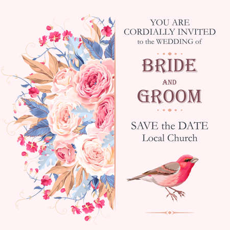 Vector vintage wedding invitation with roses and birds Vettoriali