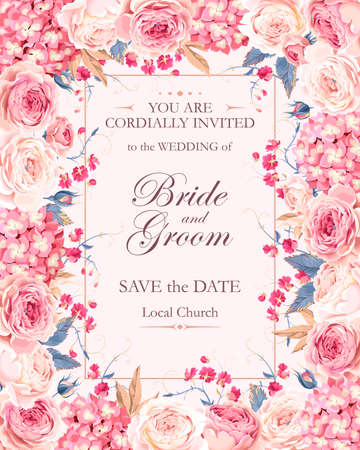 Vector vintage wedding invitation decorated with roses and hydrangea