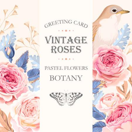 tarjeta de felicitación del vector con las rosas de la vendimia y el pájaro Ilustración de vector