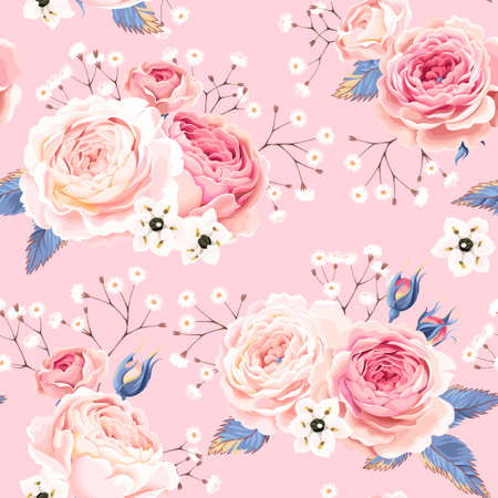 Vintage gentle english roses vector seamless background Ilustrace