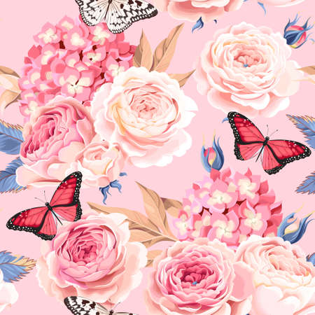 Vintage rose and hydrangea vector seamless background