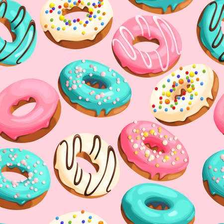 Colorful glazed donuts with confectionery sprinkling vector seamless background