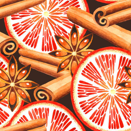 Seamless vector watercolor pattern with cinnamon and a slice of orange