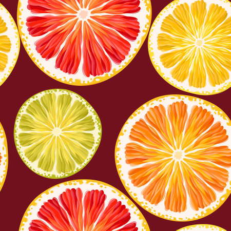 grapefruits: Varicolored, high detailed cirtus slices vector seamless background