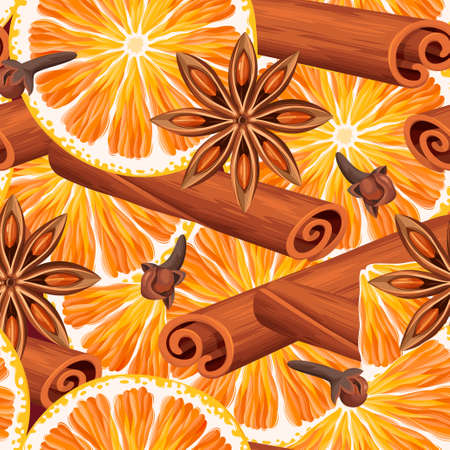 Orange slices and mulled wine spices vector seamless background