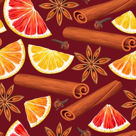 Orangenscheiben und Glühwein Gewürze Vektor nahtlose Hintergrund