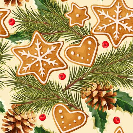 Gingerbread vector seamless pattern for christmas design Vektorové ilustrace