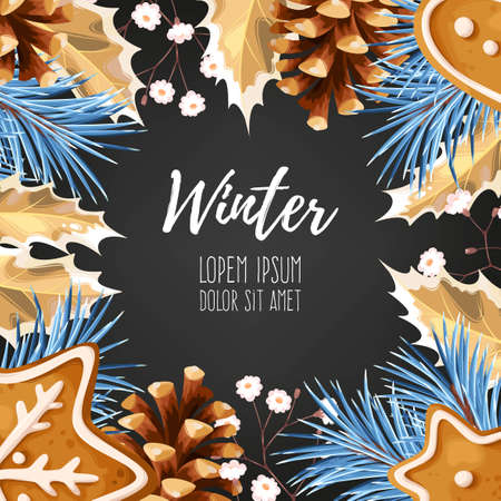 ilex: Vector winter card with gingerbread, pine and holly Illustration