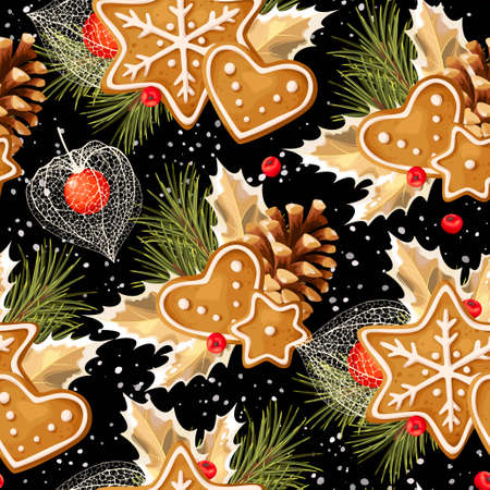 winter cherry: Gingerbread, winter cherry and holly vector seamless background
