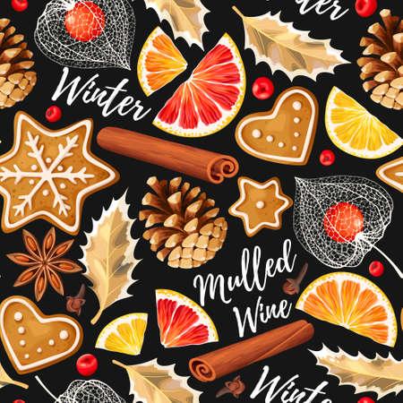 Glühwein Zutaten und Lebkuchen Vektor nahtlose Hintergrund