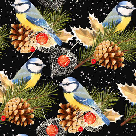 chickadee: Tomtit, spruce and winter cherry vector seamless background