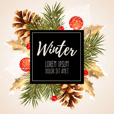 winter cherry: Vector card with winter cherry, pine and holly