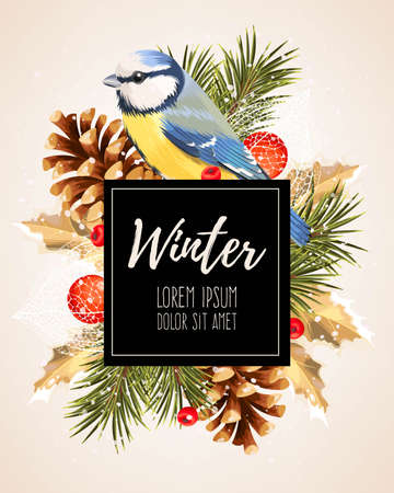 Vector card with winter cherry, pine and tomtit Illustration