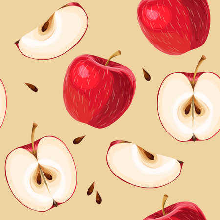 Red apples and apple slices seamless