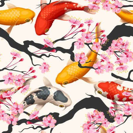 Koi fish and sakura seamless Çizim
