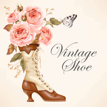 Vintage shoe with roses