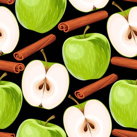 apple cinnamon: Apple and cinnamon seamless Illustration
