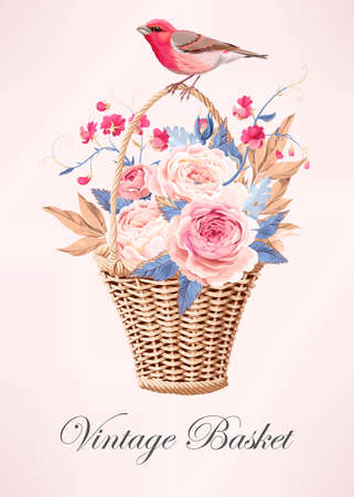 vintage: Vintage basket with flowers Illustration