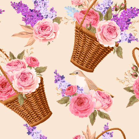 basket: Basket with flowers seamless