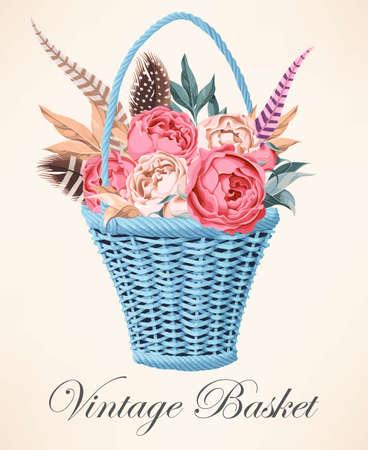 basket: Vintage basket with flowers Illustration