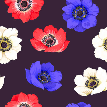 comely: Seamless colorful anemones