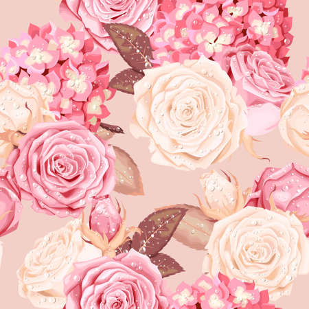 Beautiful roses and hydrangea seamless Stock Illustratie