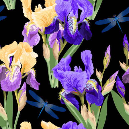 Floral pattern with iris flowers Illustration