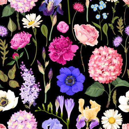 Seamless garden flowers Illustration