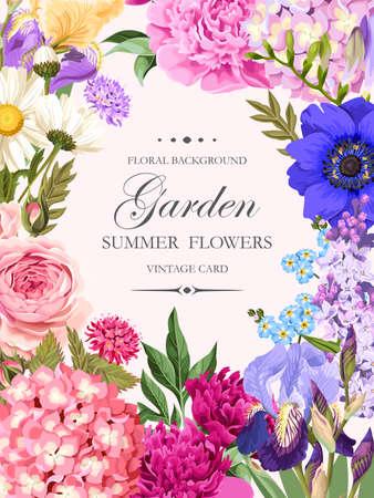 庭の花とヴィンテージのカード