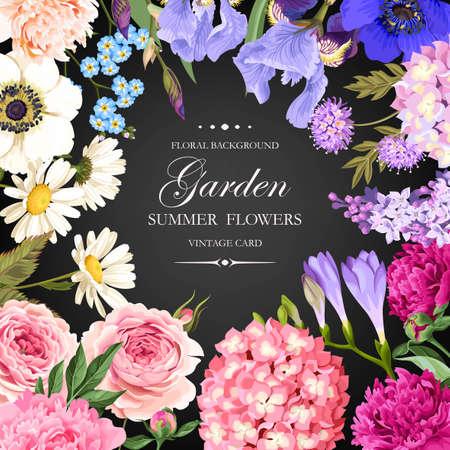 Vintage card with garden flowers Zdjęcie Seryjne - 80227472