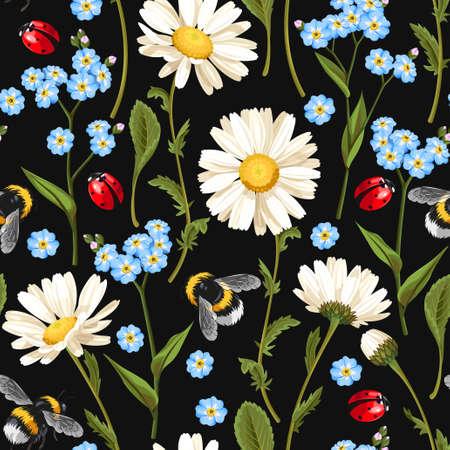 chamomile flower: Meadow flowers seamless