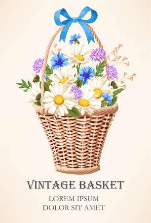 Vintage basket with flowers Illustration