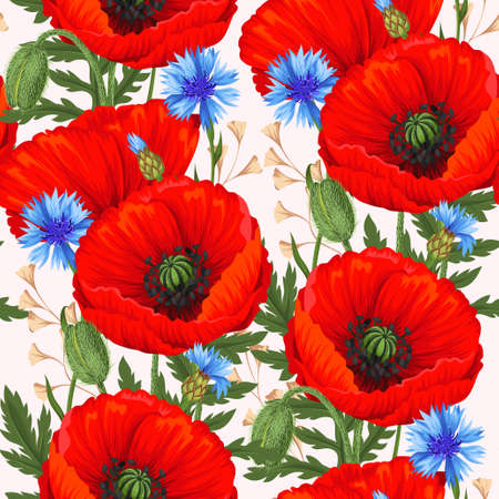 Red poppies seamless