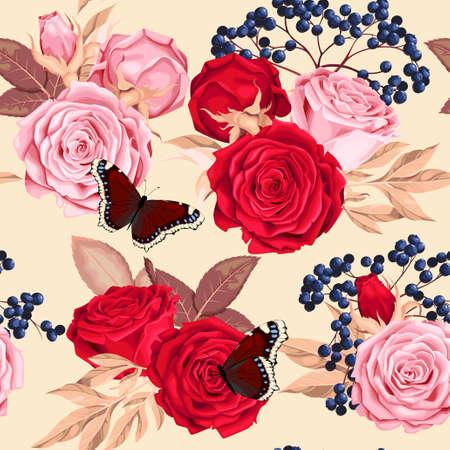Belle rose sans couture Vecteurs