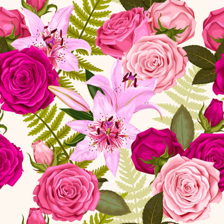 Floral pattern with lilies and roses. Illustration