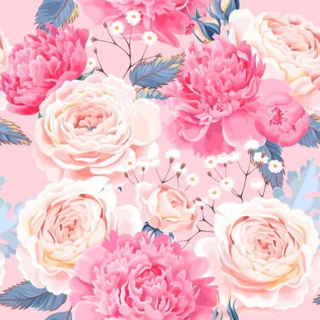 Seamless pattern with peonies and roses