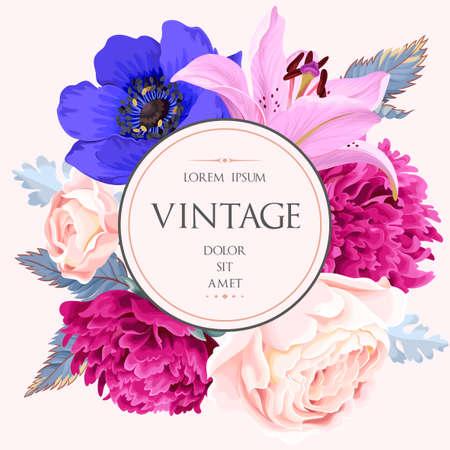 Vintage-Karte mit Blumen Standard-Bild - 84272845