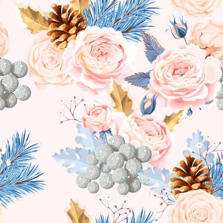 Seamless pattern with white roses Illustration