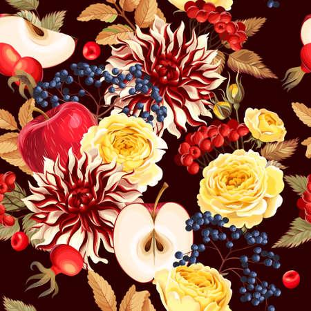 Seamless pattern with autumn flowers Çizim