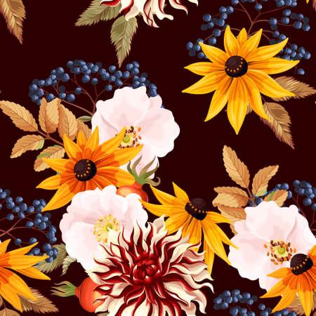 Motif sans couture avec des fleurs d'automne Banque d'images - 84439346