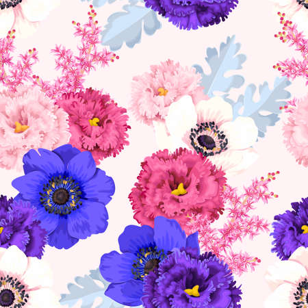 Seamless pattern with eustoma and roses Illustration