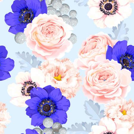 Naadloos patroon met eustoma en rozen