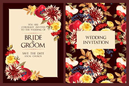 Vintage wedding invitation with high detailed flowers