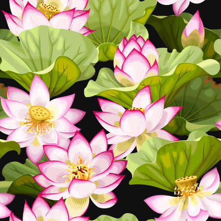 healing: Seamless pattern with lotus flowers