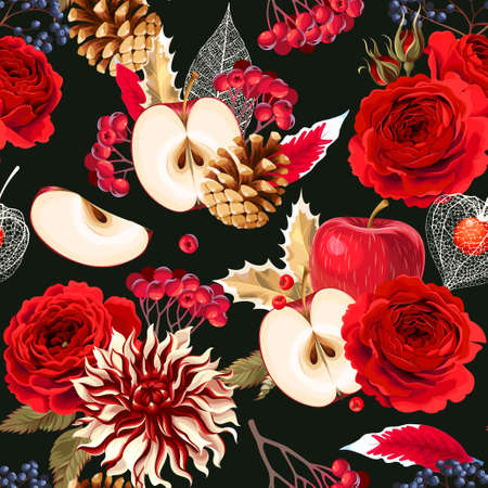 Vector floral seamless pattern with roses and winter berries Illustration
