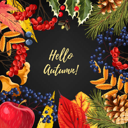 Card with autumn leaves and berries.