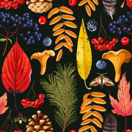 Modèle avec des feuilles d'automne et des baies. Banque d'images - 87796491