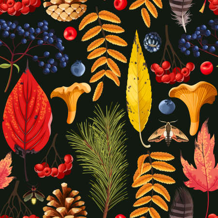 Pattern with autumn leaves and berries.