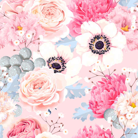 Seamless pattern with anemones and roses Çizim